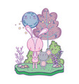 little rabbit and mouse in the landscape vector image vector image