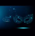 mardi gras blue polygonal carnival mask vector image