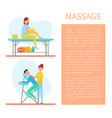 massage of back and self care method set vector image