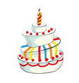 of cake with candle vector image vector image
