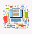 office workplace laptop computer with finance vector image vector image