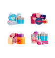 piles of gift boxes and packages set vector image vector image