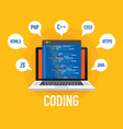 programming web development concept code on the vector image vector image