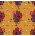 Seamless background with hand drawn rooster hens vector image