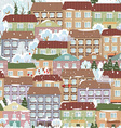Seamless texture with a winter cute houses