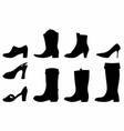 shadows boots and shoes vector image vector image