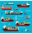 Ships boats cargo logistics transportation and vector image vector image