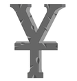 Sign Yuan from stone vector image vector image