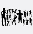 singer chef male and female people silhouettes vector image