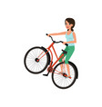 smiling female bicyclist riding a bike active vector image
