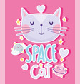 space cat planets stars love cartoon cute text vector image vector image