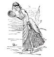 tennis woman vintage vector image vector image