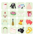 Wedding cartoon icons set vector image vector image