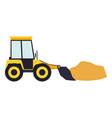 bulldozer with load in colorful silhouette vector image