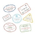 International business travel visa stamps set vector image