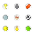 Sports accessories icons set cartoon style vector image