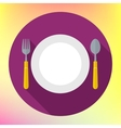 Flat Dinner Plate spoon Fork vector image