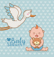 bashower card with stork vector image vector image