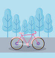 bicycle vehicle in landscape isolated icon vector image vector image