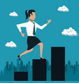 business woman running over arrows vector image