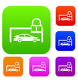 car and padlock set collection vector image vector image