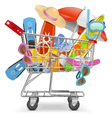 Cart with Beach Accessories vector image vector image