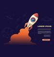 cartoon design space ship launch with orange smoke vector image vector image