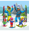 cartoon family skiing in snowy hills together vector image vector image