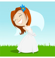 Cartoon happy bride on green grass vector image