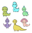 cawaii dinosaurs set cartoon characters vector image