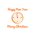 christmas card with the clock in orange vector image