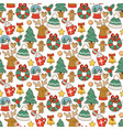 christmas greeting card stickers seamless pattern vector image