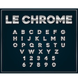 chrome silver metallic font set letters numbers vector image