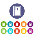church icons set flat vector image vector image