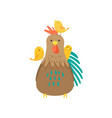 cock with three small yellow chicks playing on his vector image vector image