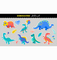 cute dinosaurs sticker collection different types vector image