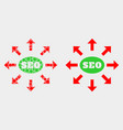 dot and flat seo distribution arrows icon vector image vector image