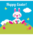 Easter bunny and Easter colored eggs vector image