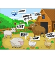 Farm animals talks sound cartoon educational vector image vector image