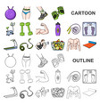 fitness and attributes cartoon icons in set vector image vector image