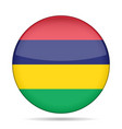 flag of mauritius shiny round button vector image