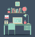Flat Design Workplace vector image vector image