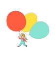 flat girl child walking with air balloons vector image vector image