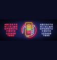food delivery neon sign smartphone in hands vector image