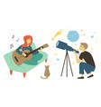 guitarist woman astronomy hobby pastime vector image vector image