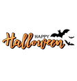 halloween lettering with bats vector image