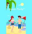 happy couple at beach party smiling man and woman vector image vector image