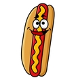 Happy hot dog with moustard vector image vector image