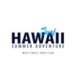 hawaii surfing emblem or logo vector image