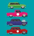hotrod flat old school race car set vector image vector image